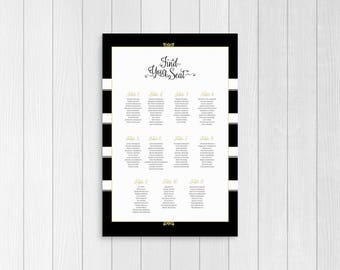 wedding seating chart, printable seating chart sign, find your seat sign, table sign, seating chart poster, black and gold, wedding decor,