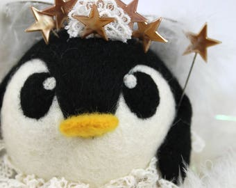 Tinkerpeng Needle Felted Penguin Fairy BIG Roly Poly Penguin Ornament