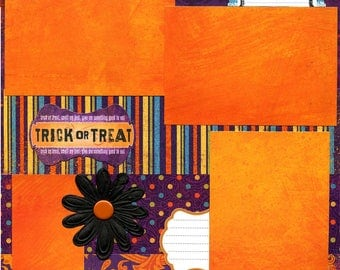 12x12 Premade Halloween Scrapbook Page - Trick or Treat