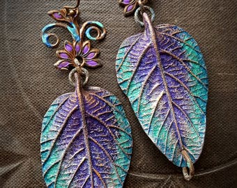 Polymer Clay, Gypsy, Hippy, Boho, Leaves, Brass, Painted, Flower, Artisan Made, Organic, Rustic, Earthy, Beaded Earrings