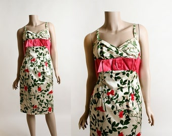 Vintage 1960s Dress - Rose Print Floral Velvet Flocked Party Cocktail Wiggle Dress - Harry Cooper - Hot Pink Olive Green Cream - Small