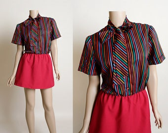 Vintage 1970s Mini Dress - Secretary Striped Rainbow Pussy Bow Ascot Dress - Maroon Pink - Shirtdress - Small