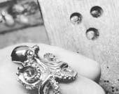 Octopus Ring with Black Diamond Eyes