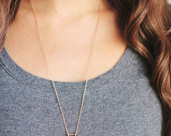 Long Lapis Bar Chevron Arrow Necklace | Brass | 14kGold Filled |Sterling Silver