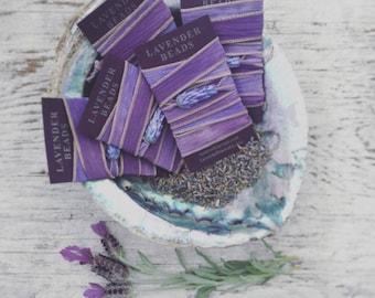 Glass Lavender Wrap Bracelet on Silk in Gift Box with Organic Lavender Sachet Buds