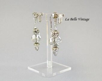 """Vendome Chandelier Earrings Vintage 50s Crystal & Rhinestone 2.5"""" Long Clip ons"""