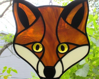 Stained Glass Fox Face Suncatcher with Glowing Golden Eyes