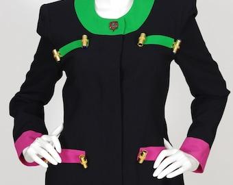 Gai Mattiolo Italy Early 1990s Vintage Color Block Black Wool Crepe Jacket Sz S