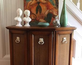 CONSOLE CABINET Midcentury Bar Storage Original Cane Panels Pecan Wood Cream/Copper Hardware Excellent Condition Vintage Retro