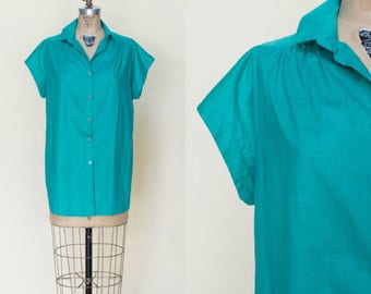 1970s Button Up Blouse --- Green Large Top