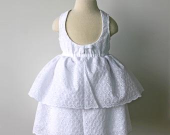 White Dress, Eyelet Dress, Girls Dress, Toddler Dress, Flower Girl Dress, Cotton Dress, Scoop Neck Dress, Easter Dress, Toddler Flower Girl