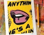 Lip Service serigraph print