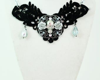Skull and Rose Lace - Black Lace pewter filigree Skull and Roses w/Tear drop Czech Crystals