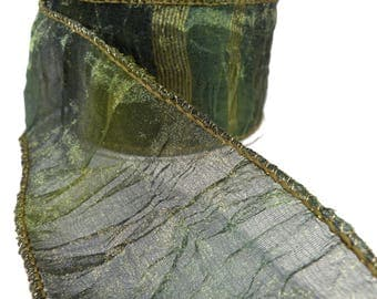 "Ombre Striped Moss Green Crushed Sheer Organza Wired Ribbon  2.5"" Wide"