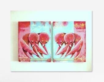 Buddha Birds (Original Paintings) 2x50x40cm