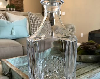 Cristal D'Arques Durand Square Crystal Decanter Whiskey Scotch Juan Pattern Cut W/Stopper TYCAALAK