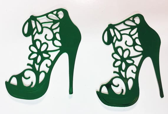 High Heel Shoe Foil Die Cut Flower Lace Dark Forest Green Elegant Feminine Embellishment Scrapbook Greeting Card Art Craft Mixed Media Gift