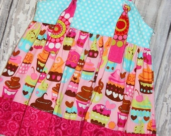 Going out of Business SALE, Birthday dress, Cupcake dress, Baby Girl Knot Dress, 12-18M girls dress, Ready to ship ,toddler dress