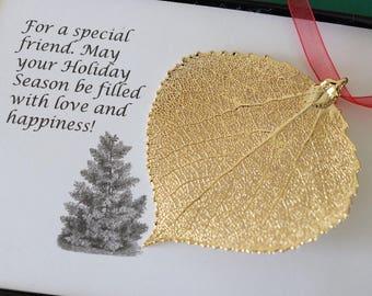 Leaf Ornament Gold, Real Aspen Leaf, Leaf Extra Large, Ornament Gift, Christmas Card, Gold Aspen Leaf, Tree Ornament, Wedding, ORNA87