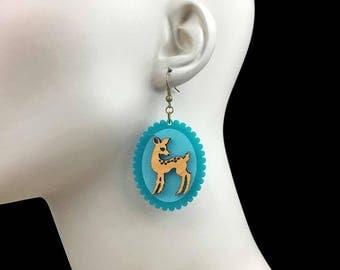 READY MADE SALE - Doe-Eyed Deer Earrings - Maple Wood & Turquoise Acrylic Laser Cut Earrings (C.A.B. Fayre Original Design)