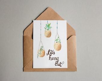 Kokedama love greeting card in watercolour - macrame plant hanging - A6 card
