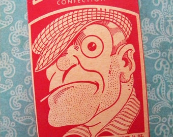 Vintage Candy Box Sunny Wrapped Confection Casey Company Thug and Bald Man