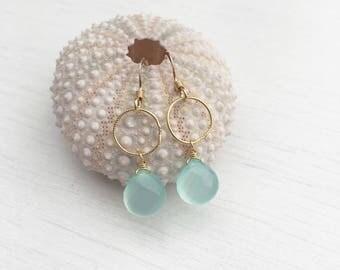 Aqua Chalcedony Simple Earrings,Gold Earrings,every day earrings,aqua earrings,gift for her, gift under 50,bridal jewelry,delicate earrings