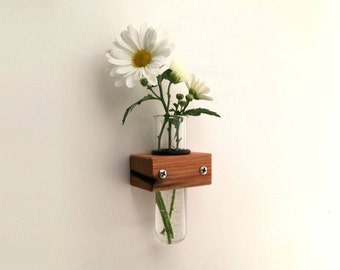 Wall Vase - Test Tube Vase - With Wood Holder - Bud Vase - Home Décor - Wood - Small Glass Vase - Bud Vase - Reclaimed Wood - Home Accents