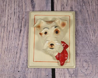 Scottie Dog Wall Plaque - Small - Ivory - Red