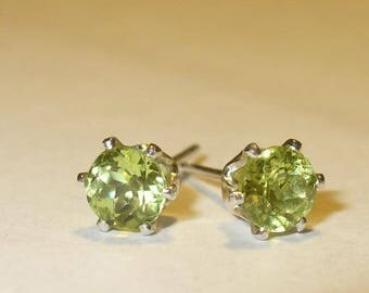 Peridot Stud Earrings in Solid Sterling Silver Settings - Genuine, Natural, Untreated Mined from Earth Gemstones