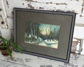 Vintage Snowy Watercolor Painting Framed Gray Birch Trees 1940s