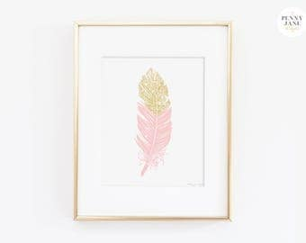 Pink Nursery Decor, Pink Feather Print, Gold Glitter Feathers Printable Digital Art Instant Download for Nursery and Home Wall Decor