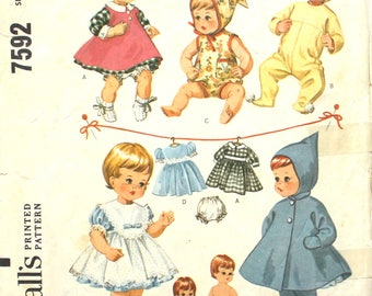 "12"" Doll Wardrobe Teeny Tiny Tears Doll Vintage Sewing Pattern McCalls 7592"