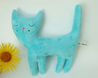 Turquoise Plush Cat, Handmade Soft Plush Cat Toy, Simple and Sweet Little Cat