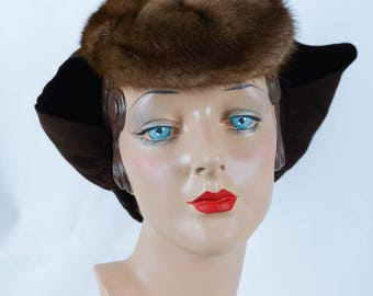1940s Vintage Hat Mink Tilt Tipster with Attached Split Snood by I Magnin
