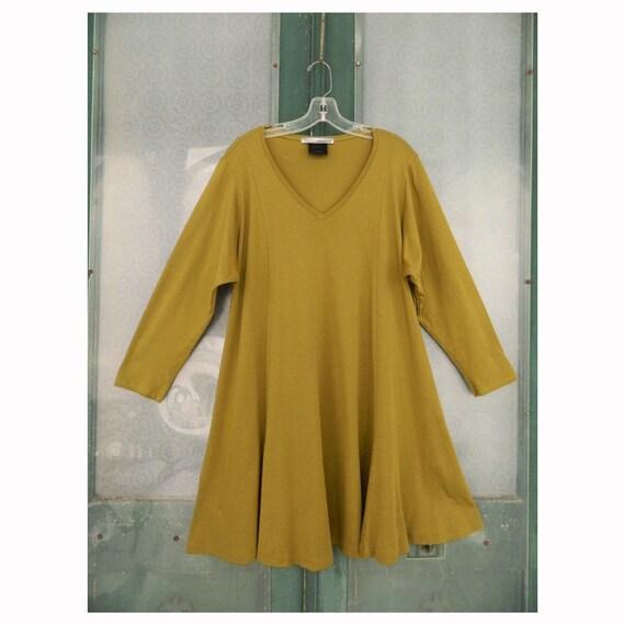 r.Browning Long-Sleeve V-Neck Tunic Dress -L- Moss Green Cotton