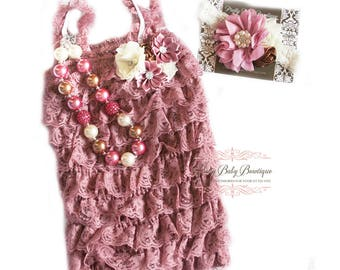 Cake Smash Dusty Pink Birthday Baby Girl Lace Romper Headband Necklace SET, Mauve Ivory Brown Petti Romper Baby Headband, Outfit, Photo Prop
