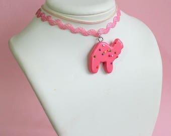 Pink Circus Animal Cookie Choker, Iridescent Choker Necklace, Pink 90s choker, Mermaid Unicorn, Pastel Goth Jewelry