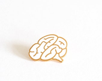 Brain Pin Badge, Brain Brooch, Hard Enamel Pin Brooch, White lapel Pin, Graduation Gift, RockCakes