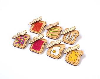 On Toast Brooch, Laser Cut, Hand painted Wooden Brooch Sets, Choose from seven Designs, RockCakes, Brighton