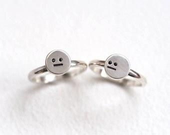 Face Rings, Sterling Silver & Black Diamond Ring, Handmade Rings, Black Diamond Eyes, Fun Precious Rings, RockCakes uk