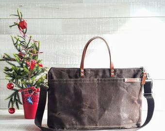 Waxed Canvas Weekender Tote Bag, Chocolate Brown waxed tote, dark brown messenger bag, brown waxed bag, unisex waxed canvas tote bag, tote