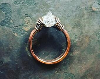 Herkimer Diamond Ring / Copper / Solitaire Ring / Raw Gemstone Jewelry / Rustic Jewelry / Daniellerosebean / Healing Crystal