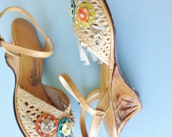 Williams Raffia Wedge Sandals with Carved Heels | 1940s