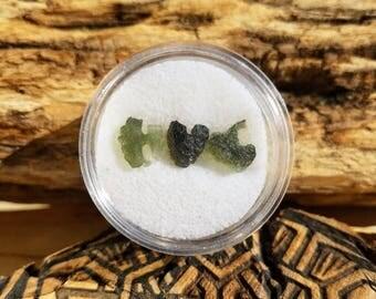 Moldavite HUG Mini Green Meteorite Stone Specimens