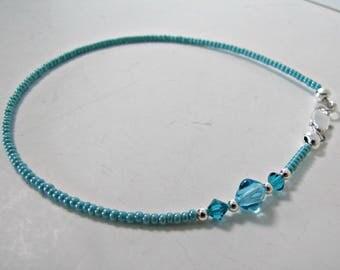 Turquoise Anklet, Boho Anklet,  Foot Jewelry, Beaded Ankle Bracelet, Body Jewelry, MInimalist, Bohemian, Seed Beaded Bracelet, #1266