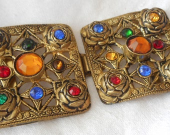 VINTAGE Multi Color Glas Rhinestone Pierced Metal 2 Piece BELT BUCKLE