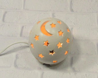 Starry Nights Nursery Light, Moon and Stars Lamp, White Nursery Light, Night Light Kids Nursery, Nursery Decor, Mood Light, Baby Shower Gift