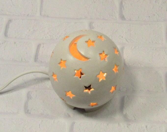 Featured listing image: Starry Nights Nursery Light, Moon and Stars Lamp, White Nursery Light, Night Light Kids Nursery, Nursery Decor, Mood Light, Baby Shower Gift