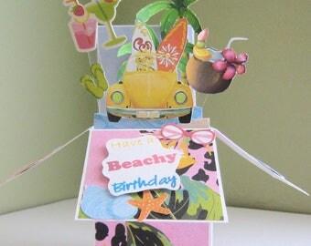 Pop Up Card - Box Card - Beach theme - Birthday Card in a box - Surf